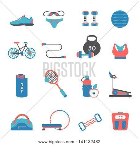 Fitness gym colored and isolated flat icon set with accessories and elements of athletics vector illustration