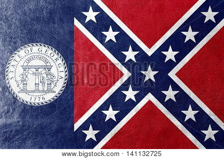 Flag Of Georgia State (1956-2001), Usa, Painted On Leather Texture
