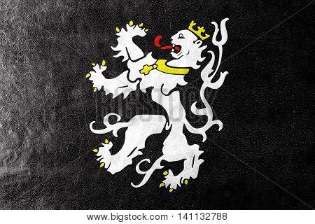 Flag Of Ghent, Belgium, Painted On Leather Texture