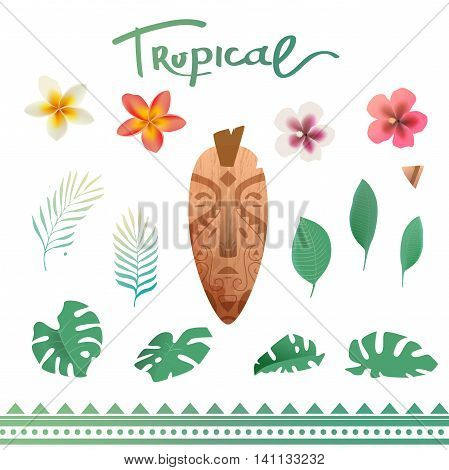 Vector set of tropical plants. Tropical flowers and leaves. Set of summer stickers. Polynesian mask