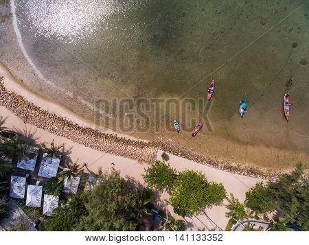 bay with boats aerial view on the island of Ko Phangan, Thailand