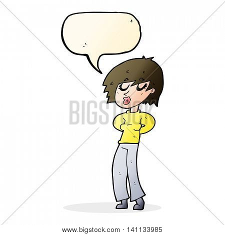 cartoon woman whistling with speech bubble