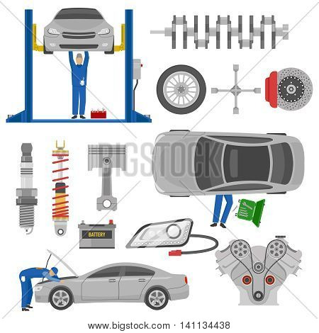 Car service decorative elements set with working mechanics auto spare parts hoist tools isolated vector illustration