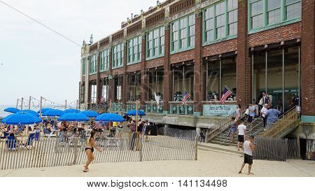 ASBURY PARK, NJ - JUL 16: Beach at Asbury Park in New Jersey, as seen on July 16, 2016. It has been ranked as one of the best beaches in New Jersey.