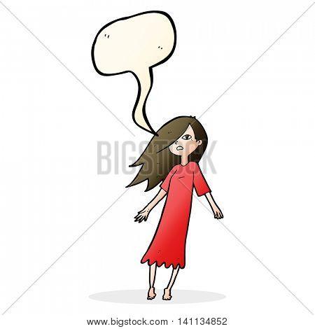 cartoon ghost like girl with speech bubble