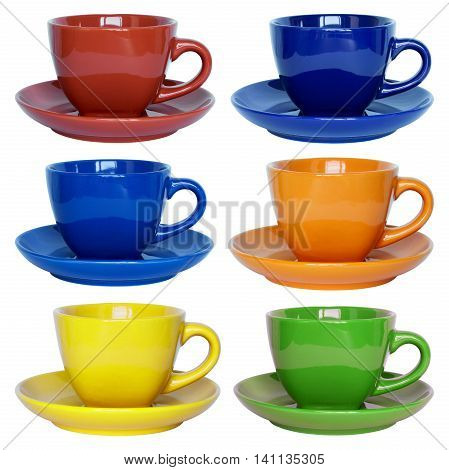 Set Of Color Cups And Saucer Isolated On White With Clipping Path