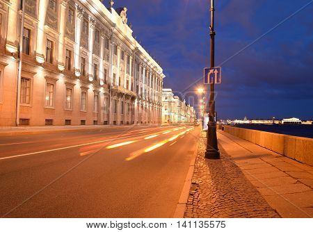 Marble Palace and embankment of Neva River in St. Petersburg Russia.