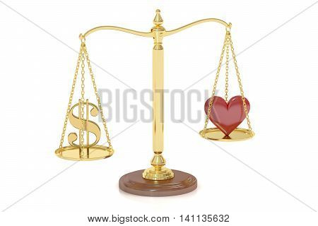 Love or Money concept with scales 3D rendering isolated on white background