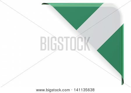 Nigerian flag corner button. 3D rendering isolated on white background