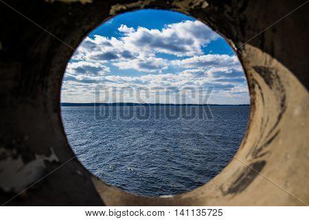 Lake Murray South Carolina USA Landscape Through Pipe Perspective