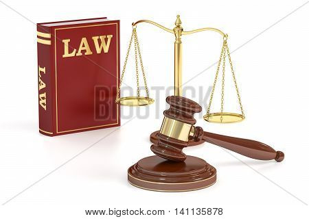 Wooden gavel low and golden scales of justice. Justice concept 3D rendering isolated on white background