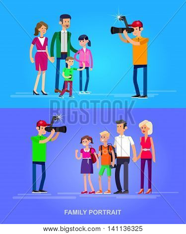 cool detailed character Photographer and videographer with camera photographs family people