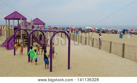 ASBURY PARK, NJ - JUL 16: Playground at the beach at Asbury Park in New Jersey, as seen on July 16, 2016. It has been ranked as one of the best beaches in New Jersey.
