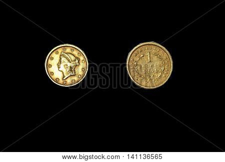 Gold Dollar, US Currency, against an isolated background