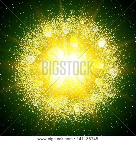 Abstract explosion with gold glittering elements. Burst of glowing star. Dust firework light effect with green glow. Sparkles splash powder background. Vector illustration.