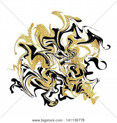 Marbling texture background. Golden glitter marble banner isolated on white. Abstract marbling design for banner, flyer, logo. Vector illustration