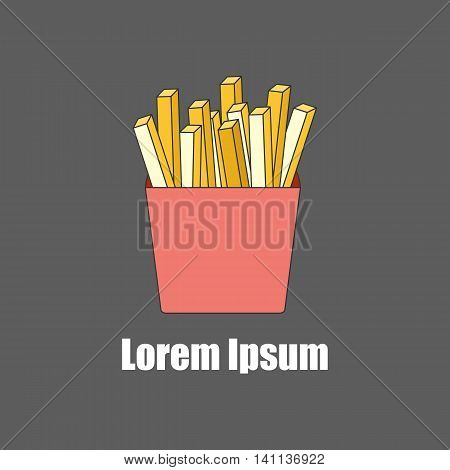 Vector illustration with flat line french fries potato. American food in flat line style. Fast food cafe restaurant menu. Snack junk high caloric lunch food. Vector logo with french potato