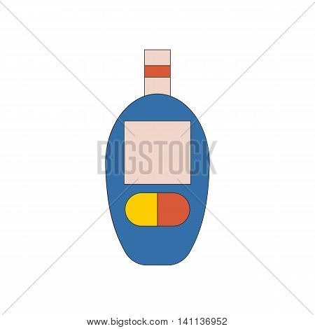 Vector illustration with cartoon flat glucometer. Diabetes medical test. Glucose level in blood. Vector diabetes icon. Measurement control surveillance for sugar in blood. Diabetic glucometer