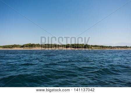 The Mediterranean sea view from the boat ashore