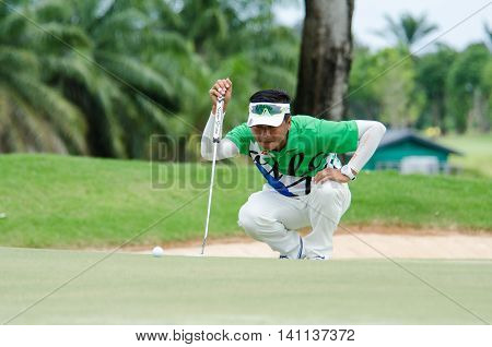 CHONBURI - JULY 31 : Lin Wen-tang of Chinese Taipei winner in King's Cup 2016 at Phoenix Gold Golf & Country Club Pattaya on July 31 2016 in Chonburi Thailand.