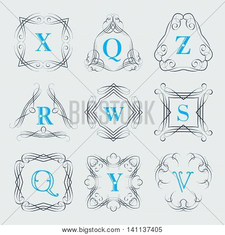 Monogram logo template with calligraphic elegant ornament. Identity design with letter Z, Q, R, W, S, Y, V for shop, store or restaurant, heraldic, barbershop