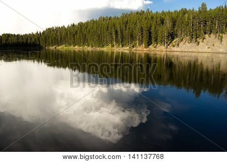 Calm Yellowstone River High Cloud Reflection National Park