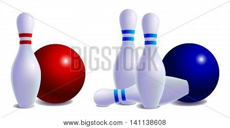 skittles for bowling with ball. Isolated on white background