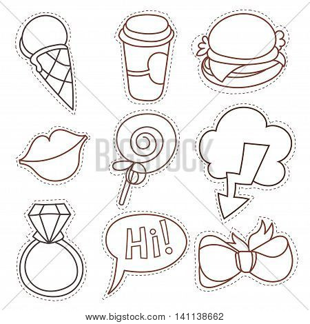 Set cartoon patch badges or fashion pin badges. Candy, cloud, cup, cloud, ring, lips, ribbon, ice cream, burger, hi hand drawn vector line sketch