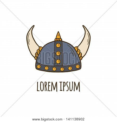 Vector illustration with cartoon hand drawn horned viking helmet. Vector nordic scandinavian culture object. Medieval viking helmet with horns. Vector viking icon for cartoon design. Warrior equipment