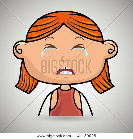 crying cartoon ginger girl with frontal vier over a white background, vector illustration