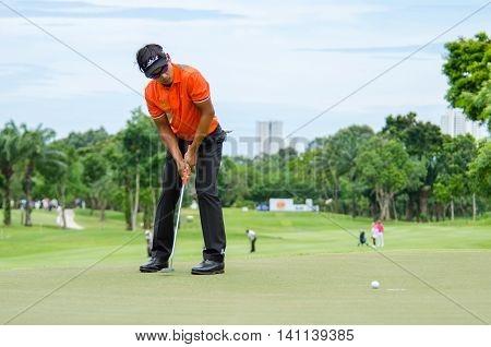 CHONBURI - JULY 31 : Natipong Srithong of Thailand in King's Cup 2016 at Phoenix Gold Golf & Country Club Pattaya on July 31 2016 in Chonburi Thailand.