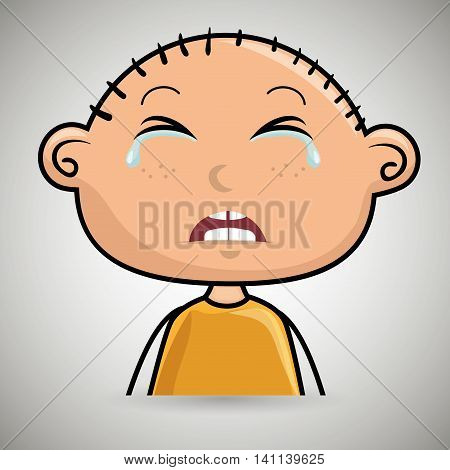 crying cartoon little boy over a white background, vector illustration