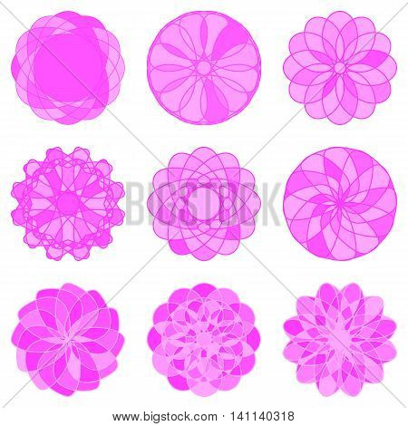 Set of Circle Geometric Ornaments. Vector illustration