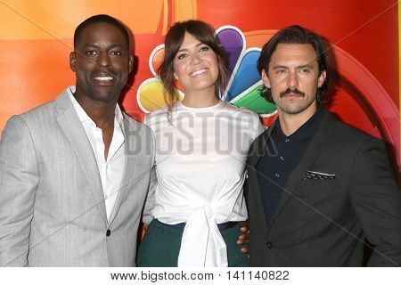 LOS ANGELES - AUG 2:  Sterling K. Brown, Mandy Moore, Milo Ventimiglia at the NBCUniversal TCA Summer 2016 Press Tour at the Beverly Hilton Hotel on August 2, 2016 in Beverly Hills, CA