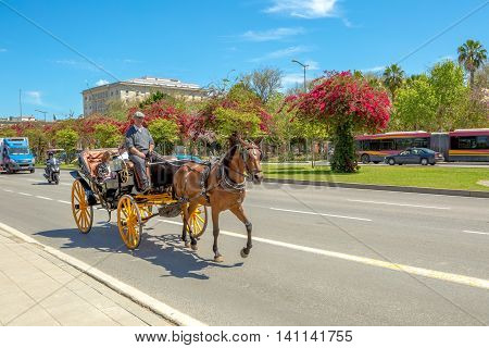 Seville, Andalusia, Spain - April 18, 2016: typical old carriage drawn by a horse with tourists on a tour to Seville. A spanish horse carriage in city street.