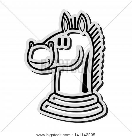flat design knight chess piece icon vector illustration