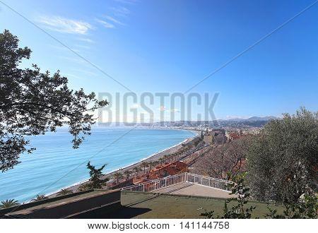 French Riviera seaside coast beach in Nice