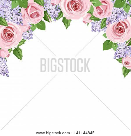 Vector background with pink roses and purple lilac flowers on a white background.