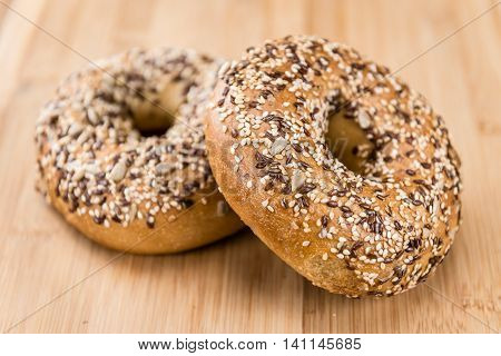 Wholemeal Bagels On Wooden Background