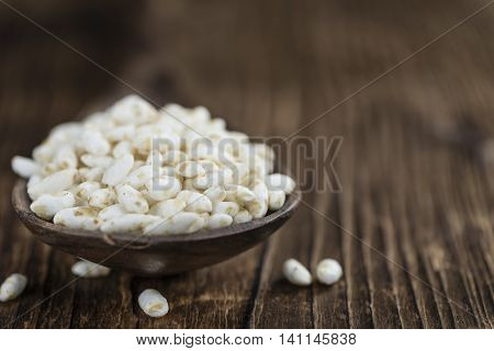Wooden Table With Puffed Rice