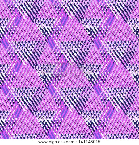 Vector bold seamless pattern with diagonal colorful lines and stripes in bright pink, black colors. Geometric striped modern print in 1980s style for textile design. Abstract tech grunge background