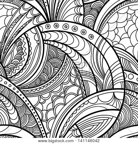 hand drawn floral seamless pattern, vector background with floral motif