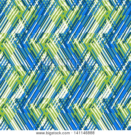 Vector geometric seamless pattern with line and zigzags in blue, green, white colors. Striped modern bold print in 1980s retro style for summer spring fashion Abstract techno chevron background