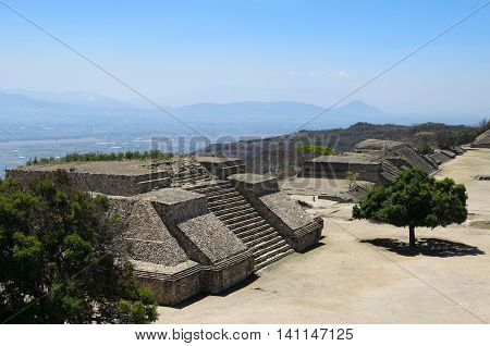 Aerial view to Monte Alban pyramid ruins