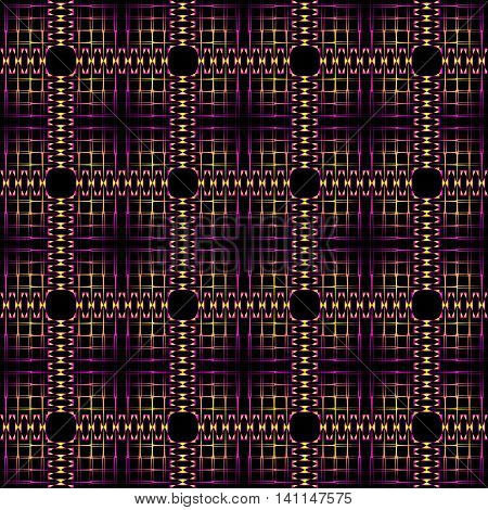 Geometric pattern of sharp lines. Purple exactly torn squares on a black background for the pattern