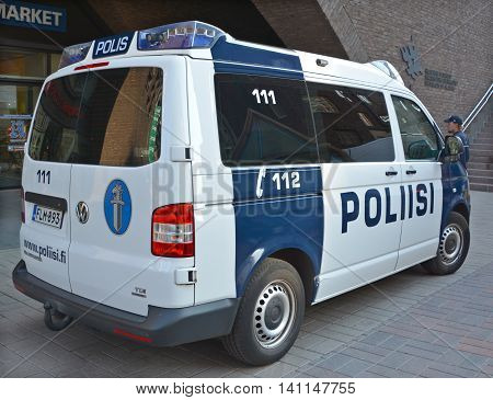 HELSINKI FINLAND 09 27 2015: Law enforcement in Finland is the responsibility of several agencies. The national police agency.The two other main agencies are the Border Guard and the customs service