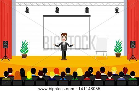 Man in suit is speaking on conference. Public Speaking concept. People sitting at the business training vector illustration.