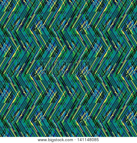 Vector geometric seamless pattern with lines and zigzags in bright green black colors. Striped modern bold print in 1980s retro style for summer fall fashion. Abstract techno chevron background