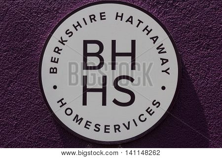 Muncie IN - Circa July 2016: Berkshire Hathaway HomeServices Sign. HomeServices is subsidiary of Berkshire Hathaway Energy II