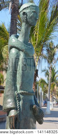 PUERTO VALLARTA MEXICO MAY 07 2016: St. Pascual, Patron of the Cooks, by Ramiz Barquet. honors the chefs of Puerto Vallarta. St. Pascual was a 16th Century Spanish friar of the Franciscan